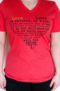 Love Is Patient V-Neck Heart Tee Tee's Pink Armadillos