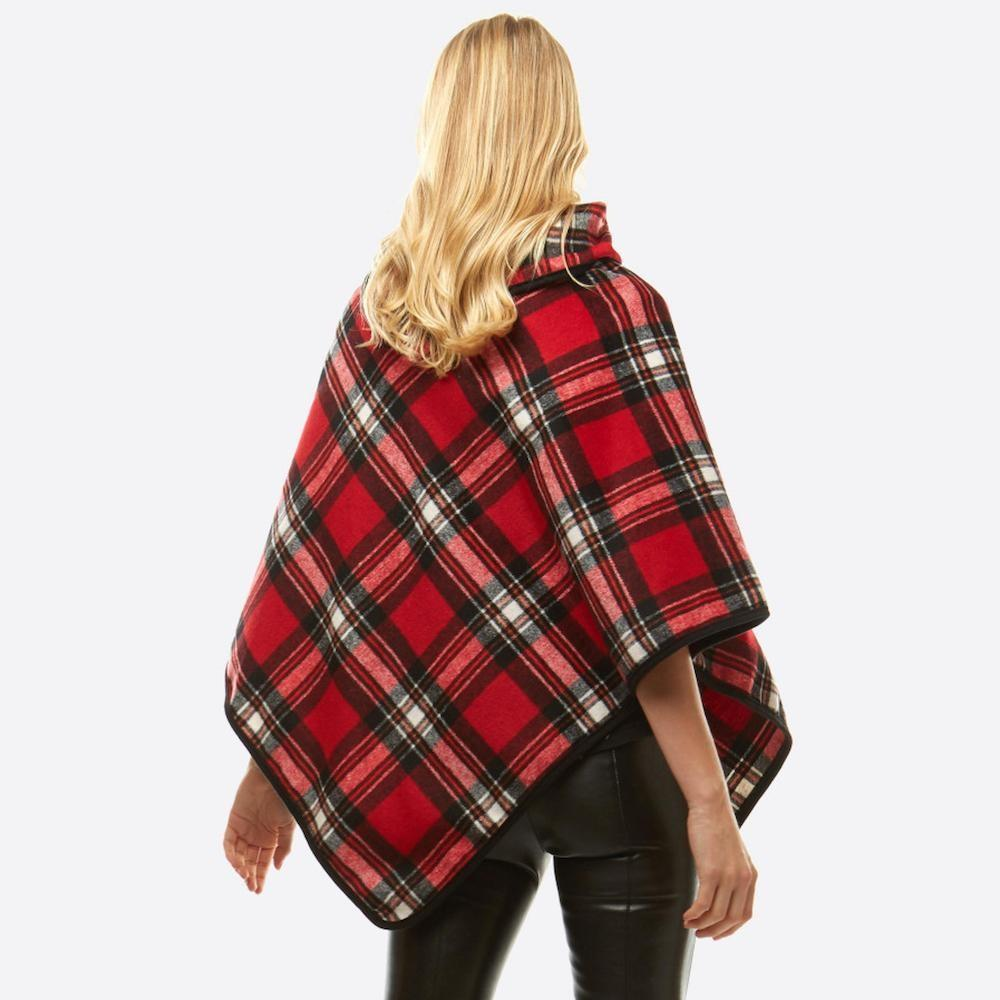 Mistletoe Plaid Poncho Sweater Honey and Rowe Boutique
