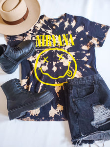 Nirvana Band Tee Hand Bleached Tee's Honey and Rowe Boutique