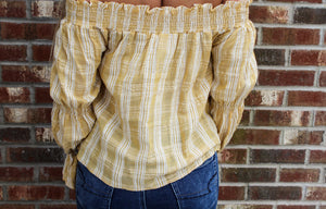 Off-the-Shoulder Yellow and White Seersucker top