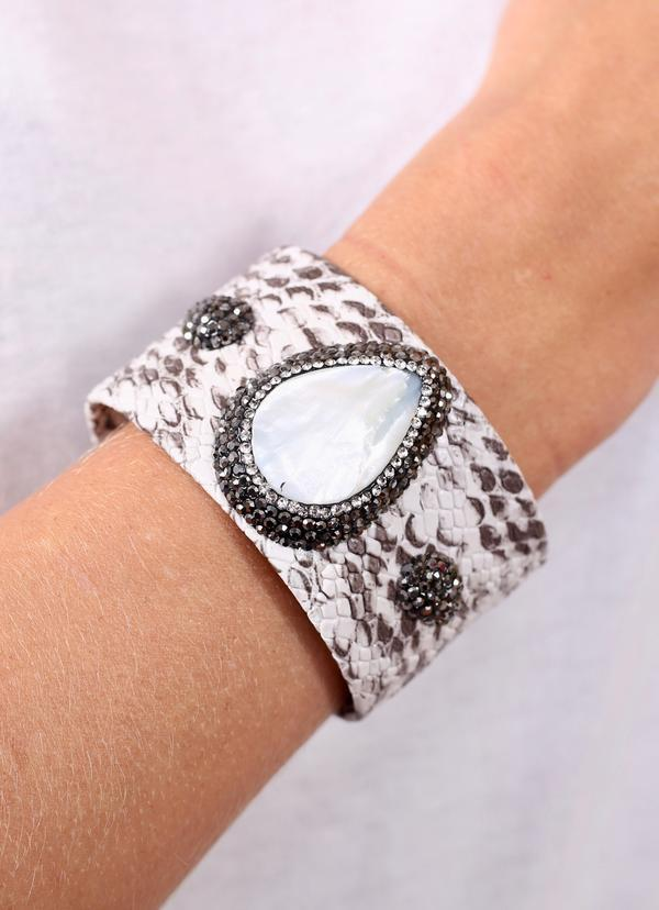 Rock And Roll Textured Snake Cuff With Pearl Surrounded By Hematite Crystals bracelets Caroline Hill