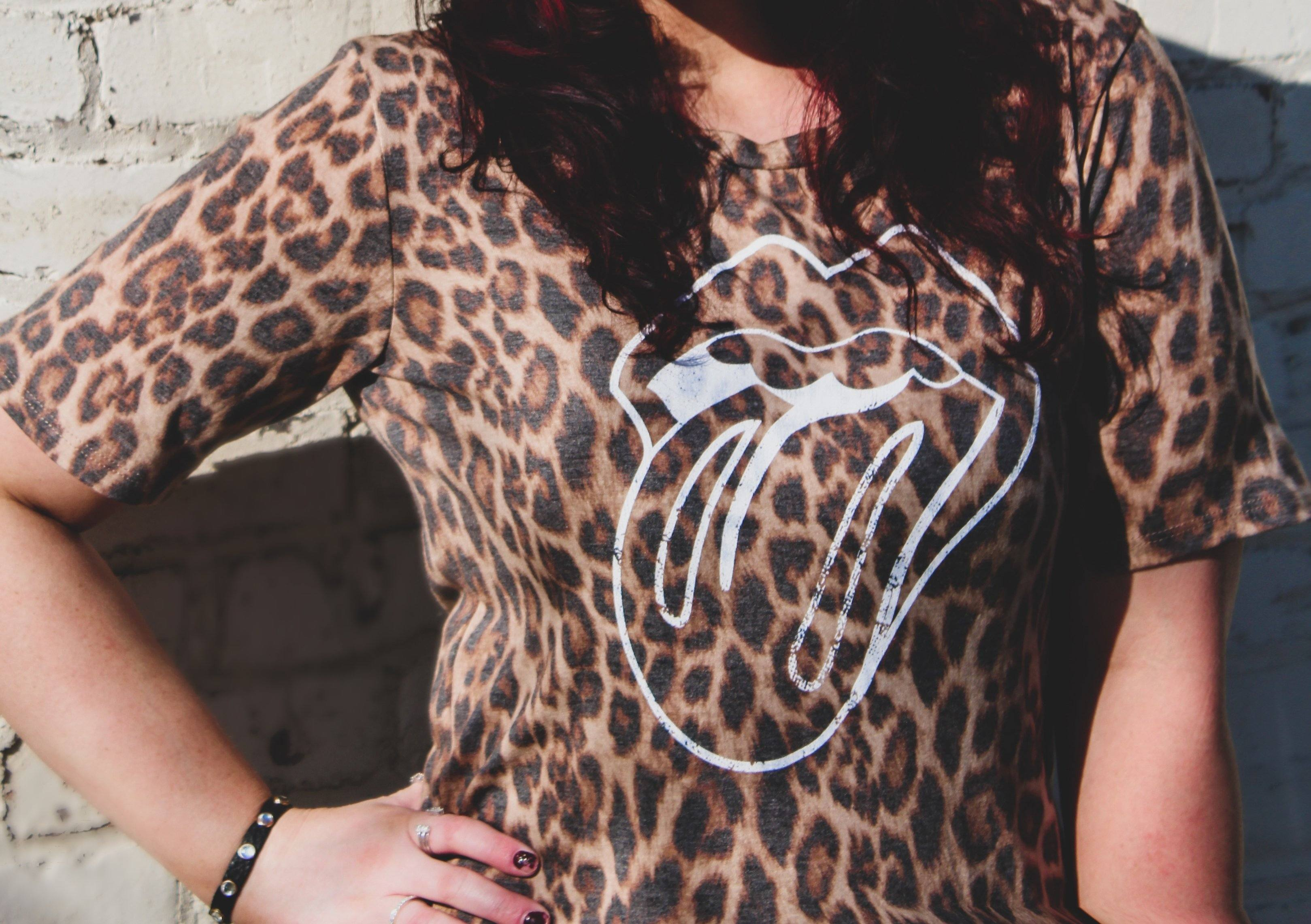 Rolling Stones Leopard Print Tee tops Nellie MAe
