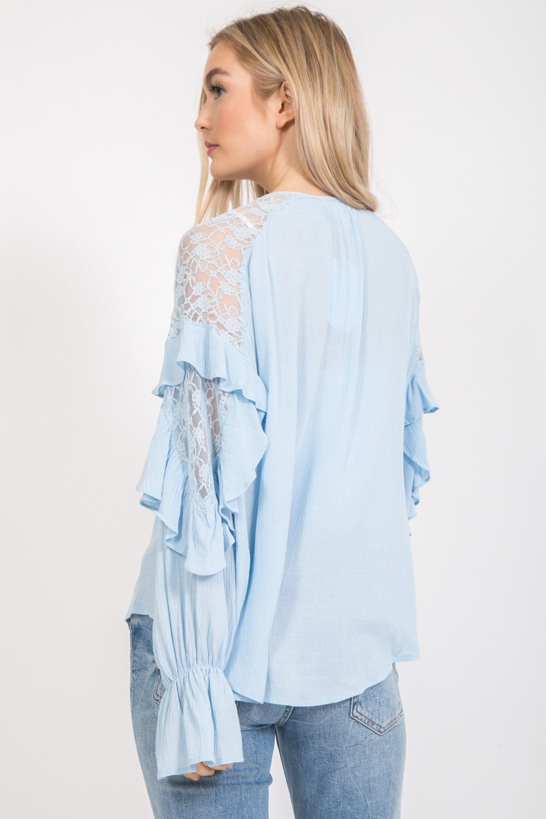 Ruffle Long Sleeve Blouse With Lace tops Loveriche