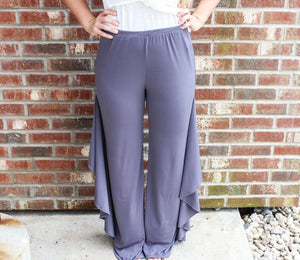 High Waisted Ruffle Side Pant Bottoms Charcoal