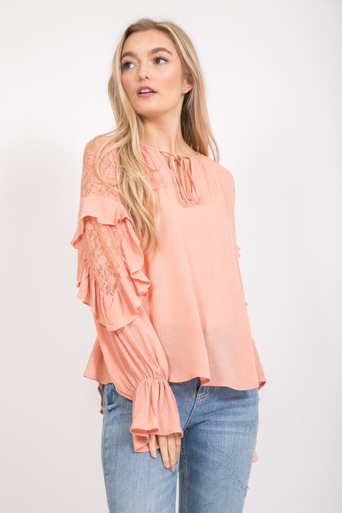 Ruffled Long sleeve blouse With Lace tops