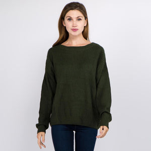 Season For Lovin' Evergreen Knit Sweater With Criss-Cross V-neck Back Sweater Judson & Company