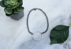Chain Necklace with Matte Silver Circle - Honey and Rowe Boutique