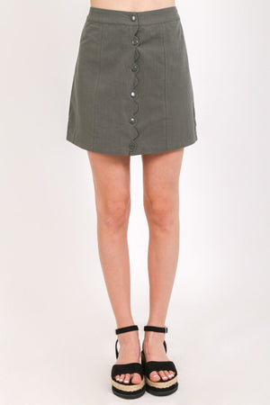 Snap Scalloped Front A-Line Mini Skirt Bottoms