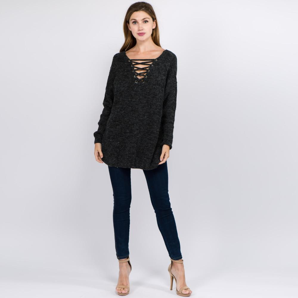 Still Think About You Criss-Cross V-Neck Sweater Black Sweater Judson & Company