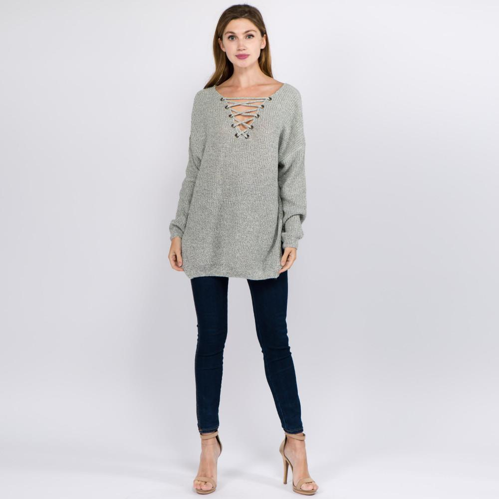 Still Think About You Criss-Cross V-Neck Sweater Grey Sweater Judson & Company