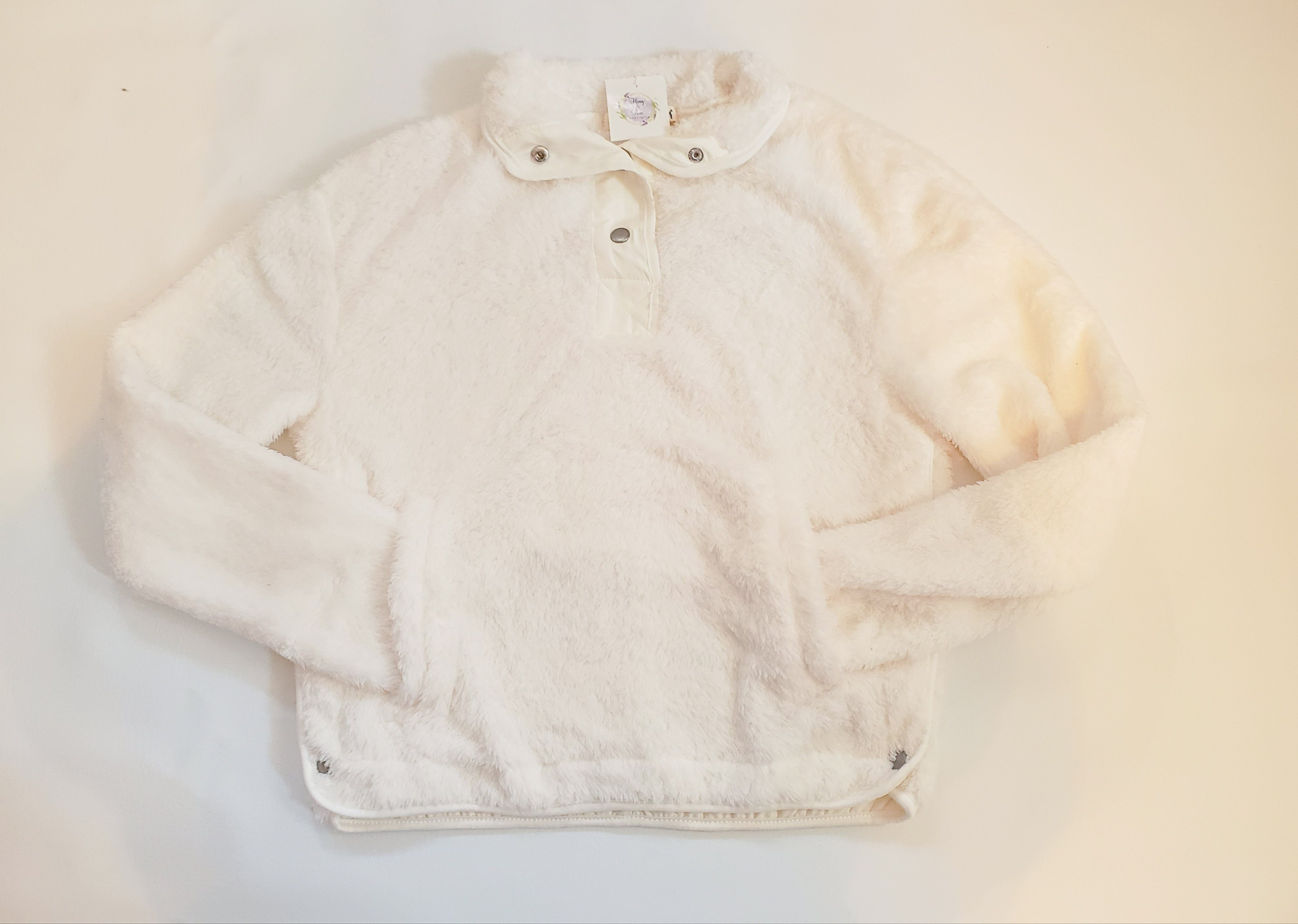 Take A Hike White Sherpa Pullover Outerwear Wallflower