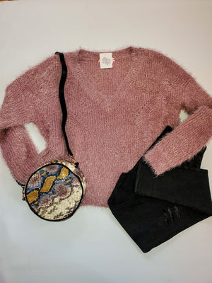 Talk To Me Dusty Rose Sweater Sweater pink Rose