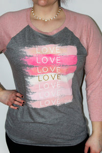 Tell Me You Love Me Brush Strokes Baseball Tee Tee's pink Armadillos