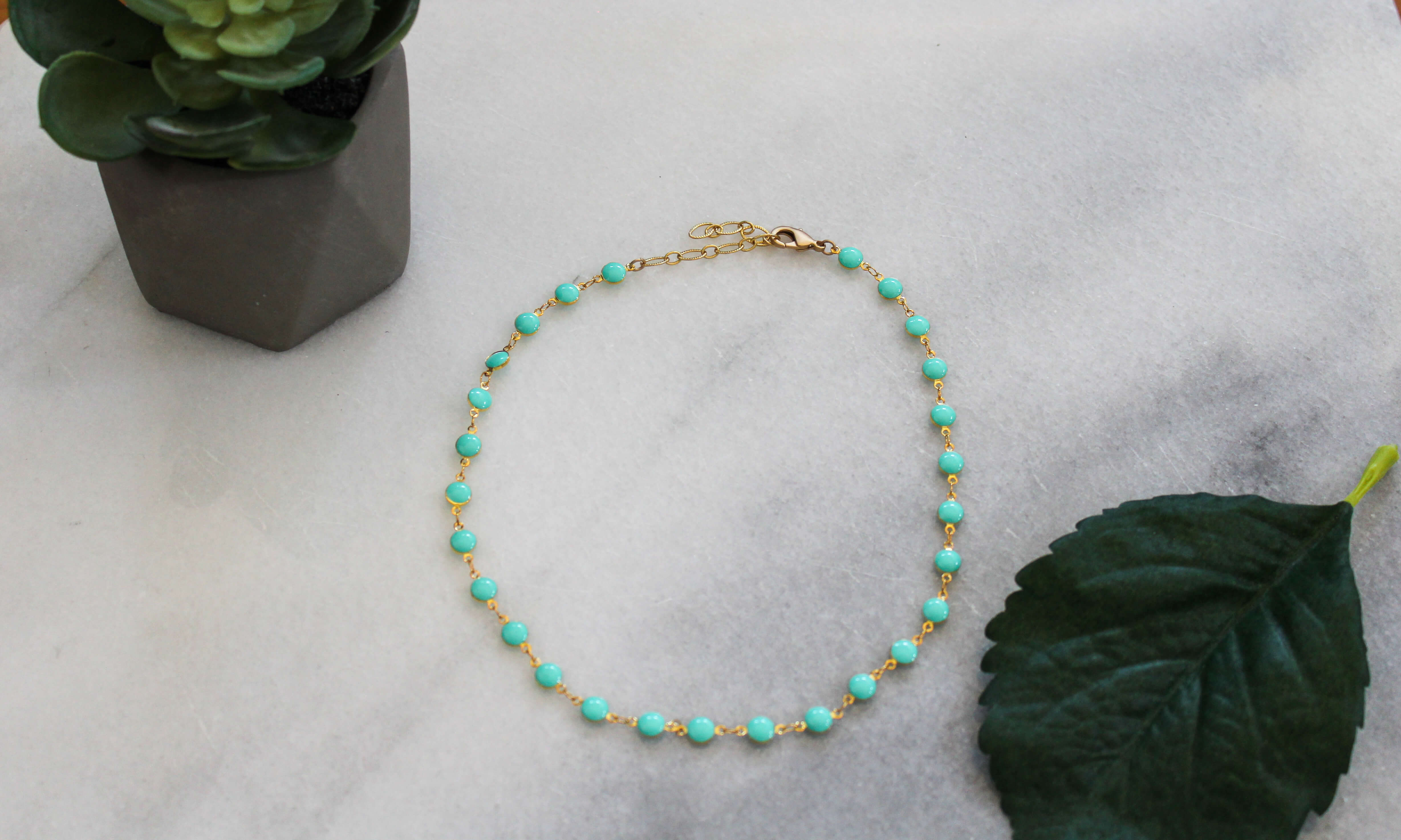 Turquoise and Gold Adjustable Necklace