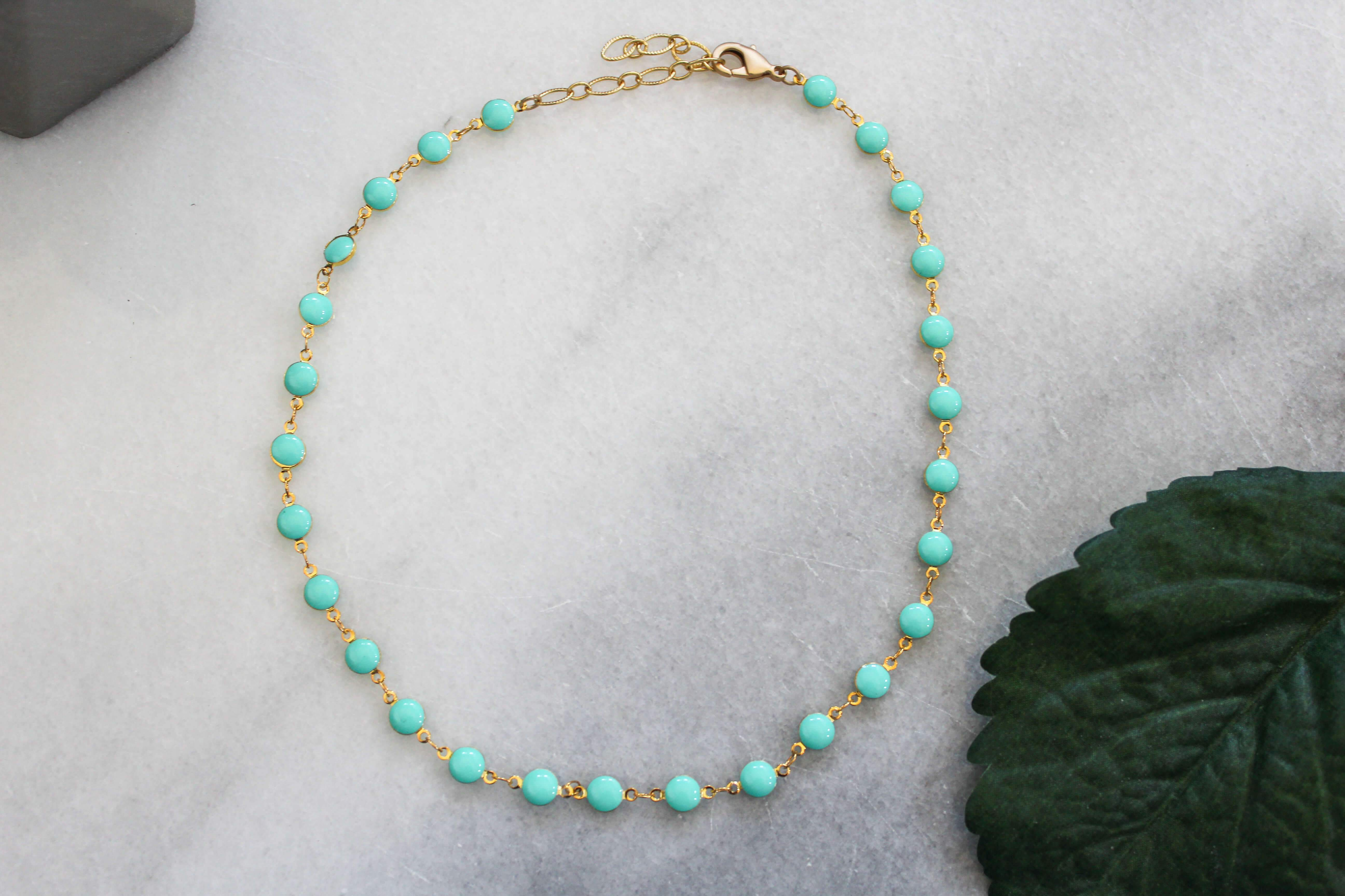 Turquoise and Gold Adjustable Necklace jewelry Ronda Smith Designs