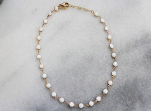 White and Gold Adjustable Necklace jewelry Ronda Smith Designs