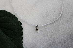 White Crystal Choker with micro pave cross jewelry
