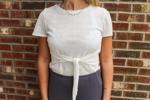 White Short Sleeve Cropped Shirt With Front Tie tops