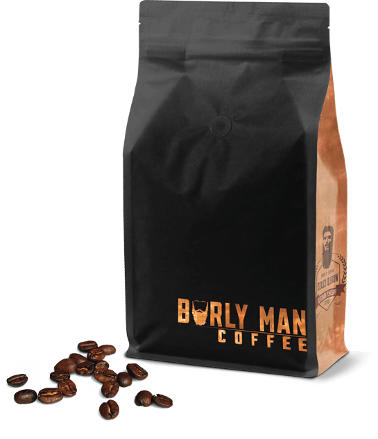 Bag of Burly Man Coffee and some loose beans.
