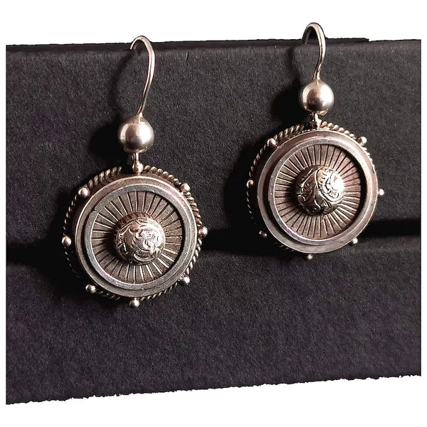 Victorian silver target earrings, drop earrings