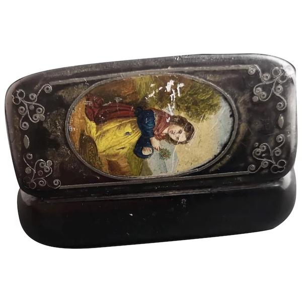 Antique Victorian snuff box, girl