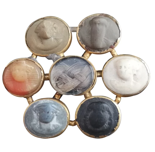 Antique Georgian Lava cameo mourning brooch, 18ct gold