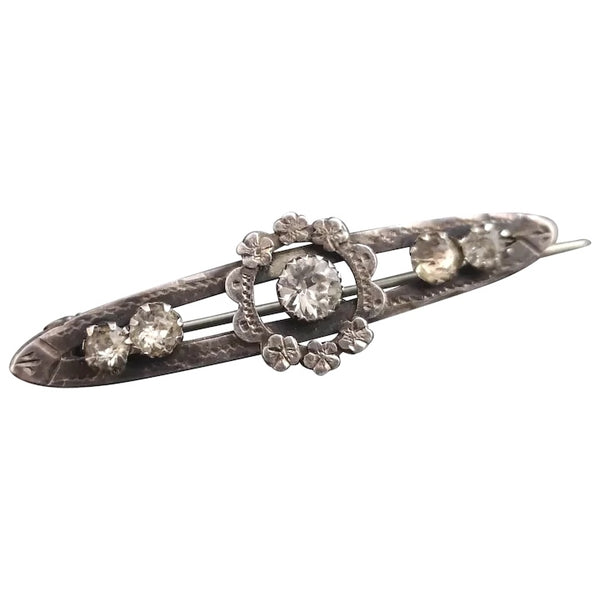 Victorian silver forget me not brooch, paste