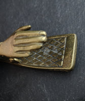 Victorian brass desk clip, novelty hand