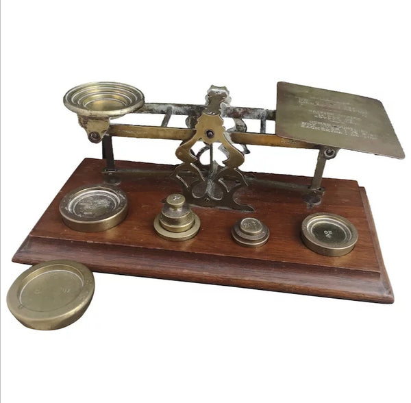 Antique postal scales, brass weights