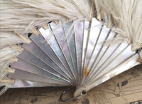 Antique ostrich feather fan, mother of pearl