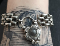Antique silver mourning bracelet, padlock clasp