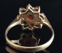 Vintage garnet flower ring, 9ct gold