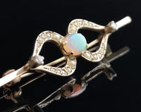 Vintage gold Opal, diamond and pearl brooch