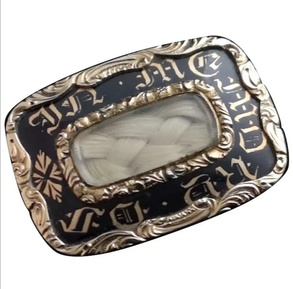 Victorian gold mourning brooch, 15ct, enamel