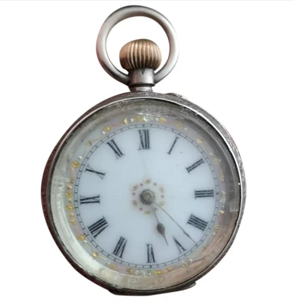 Antique ladies fine silver pocket watch
