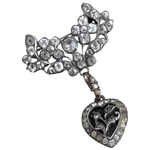 Antique silver and paste dropper brooch, Victorian heart brooch