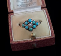 Antique turquoise and pearl ring, 15ct gold