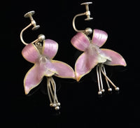 Antique Art Nouveau flower earrings