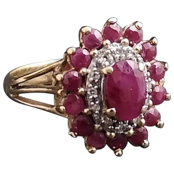 Vintage Ruby and Diamond cluster ring, 14ct gold