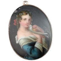 Antique gold portrait brooch, maiden and dove, Pendant