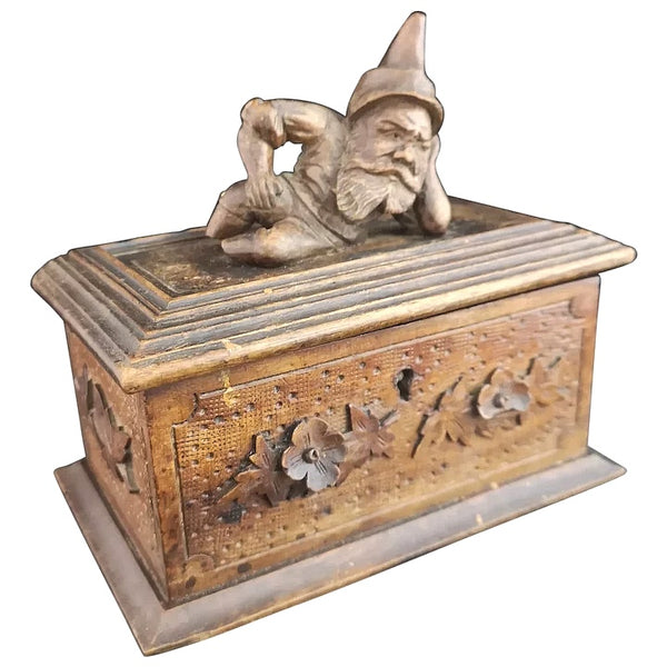 Antique wooden jewellery box, Gnome