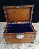 Antique oak and silver plated jewellery box