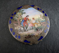 Antique silver and enamel compact, Romantic scene