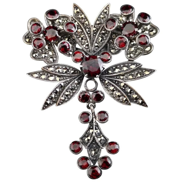 Antique Art Nouveau garnet and pyrite dropper brooch