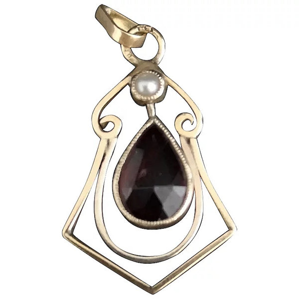 Antique Art Nouveau garnet and seed pearl pendant, 9ct
