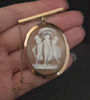 Antique 9ct gold cameo locket brooch