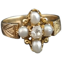 Sold on layaway - Victorian diamond and pearl navette ring, 15ct gold