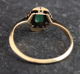 Vintage Art Deco diamond and emerald cluster ring
