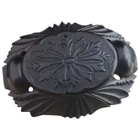 Antique Victorian whitby jet brooch