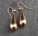 Antique Victorian 9ct gold drop earrings, rose gold